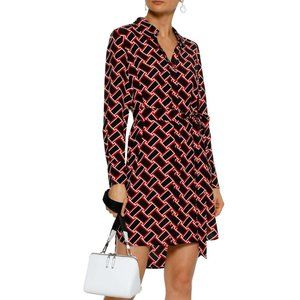 Diane Von Furstenberg Prita Silk Mini Shirt Dress